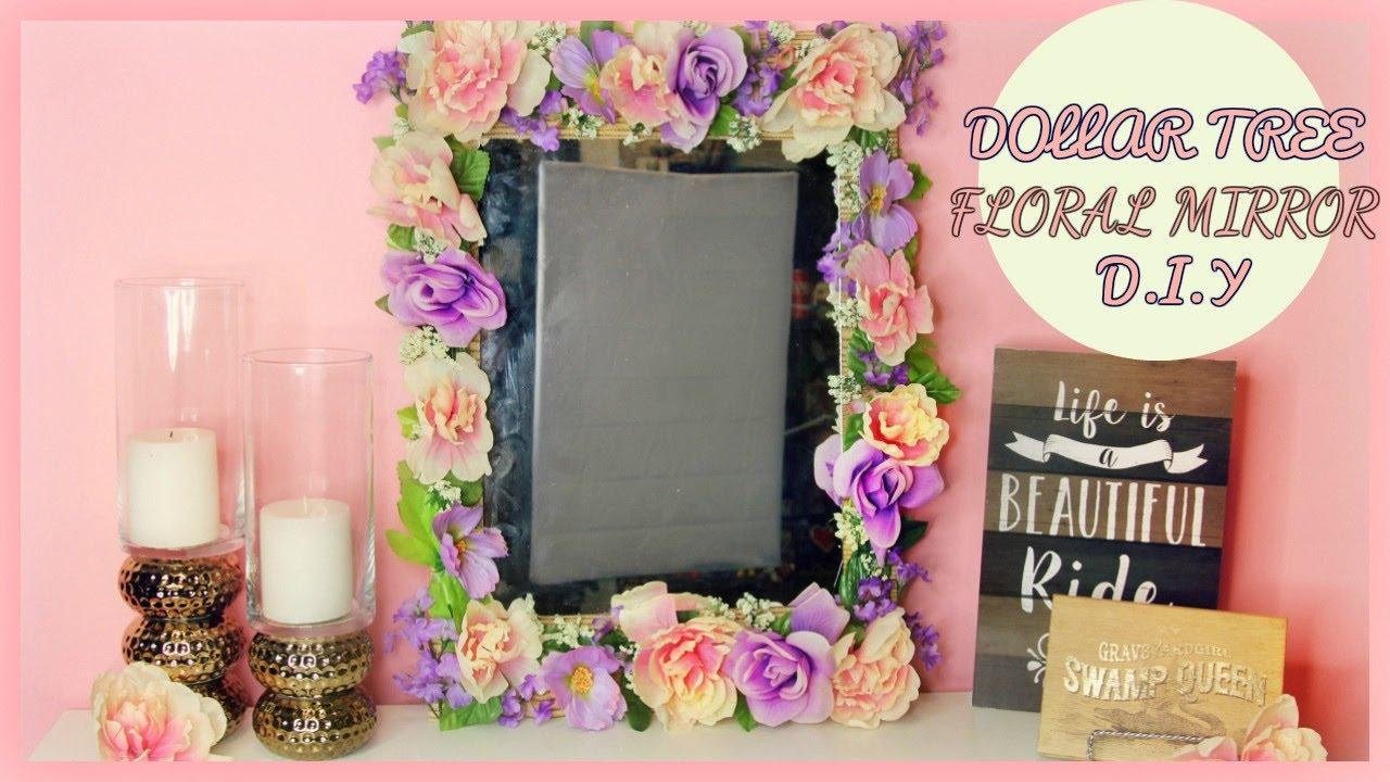 Dollar Tree Floral Mirror Home Decor Tutorial Youtube