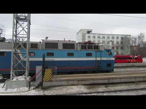 Прибытие ЧС7-022 с поездом№096Б Брест-Москва на Белорусский вокзал Москвы 7.02.2019