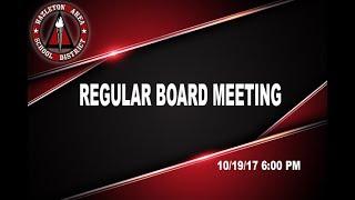 Hazleton Area School District Regular Board Meeting 10/19/17