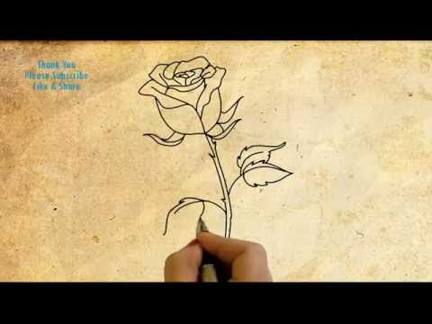 How To Draw A Rose Simple Drawing With Hand Rose Flower Drawing With