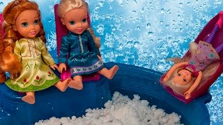 Elsa and Anna toddlers & Chelsea play at the play area, meet some babies- Frozen and Barbie episodes