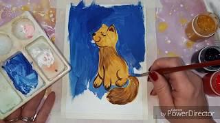 Урок рисования для детей. Живопись для малышей. Рыжий котик гуашью. Как нарисовать котика гуашью.
