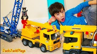 Pretend Play Crane Fishing and Unboxing Surprise Toy Trucks