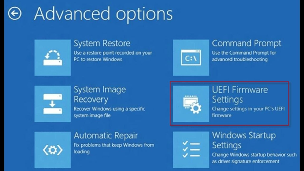 unable to access uefi bios windows 10