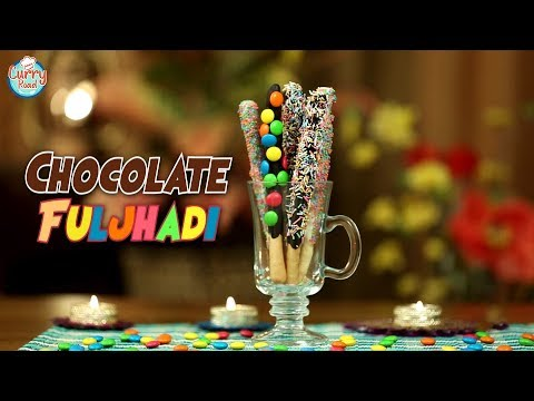Chocolate Fuljhadi   Chocolate Sparkles Recipe   Breadsticks Dipped In Chocolate   Diwali Special