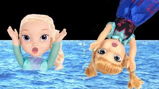 FLOATIES! Elsa & Anna toddlers - Pool Party - Water fun Prank Big float Splash Swim Inflatables