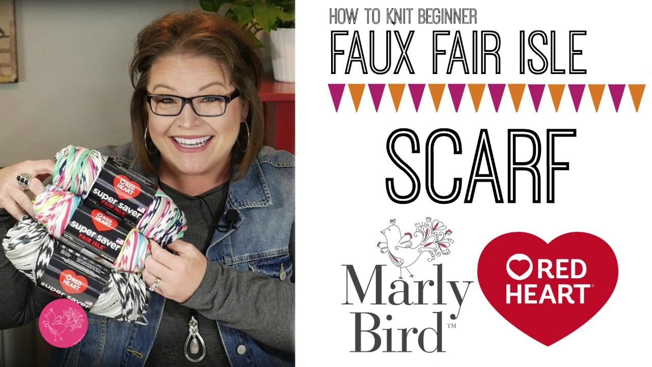 Faux Fair Isle Knit Scarf Using The New Red Heart Fair Isle Yarn