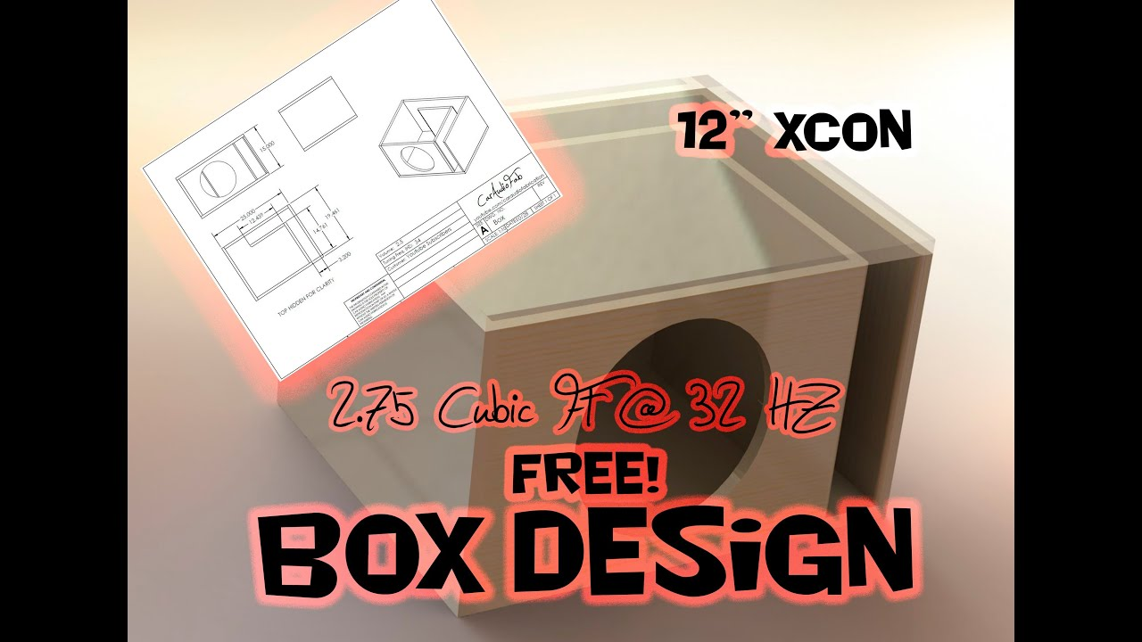 "Subwoofer Box Calculator >> Free Sub Box Design! 12"" Sub 2.75 Cubic Ft at 32 HZ - Based on SSA XCON - YouTube"