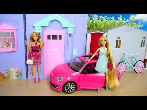 Barbie Rapunzel doll House Morning Routine Elsa Hair Salon Rumah boneka Barbie Boneca Barbie Casa