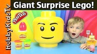 Giant PLAY-DOH Surprise LEGO Head! +SpongeBob + PEPPA helps by HobbyKidsTV