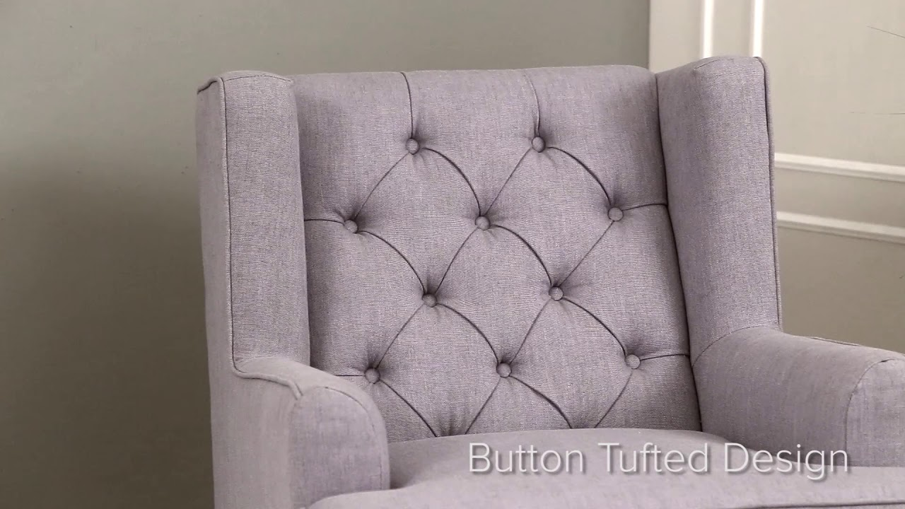 Abbyson Living Thatcher Fabric Rocking Chair In Beige Glider Cover Rocker Youtube