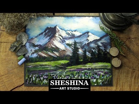 How to draw a spring mountain landscape with soft pastels 🎨 REAL-TIME