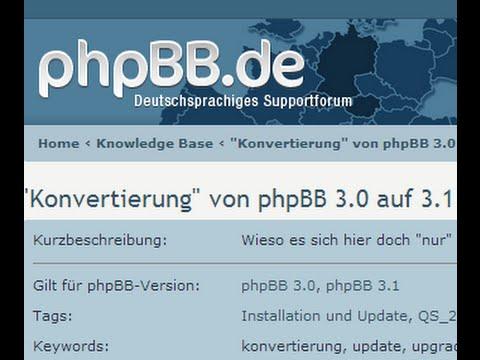 phpBB-Tutorial: Update von 3.0.12 auf 3.1.0 RC2