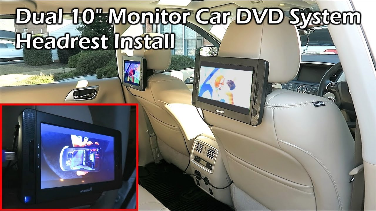 portable dual 10 monitor dvd player car headrest install youtube. Black Bedroom Furniture Sets. Home Design Ideas