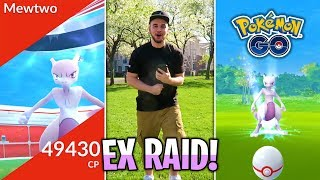 FIRST EVER LEGENDARY MEWTWO RAID IN POKÉMON GO! BATTLING MEWTWO IN EX RAID!
