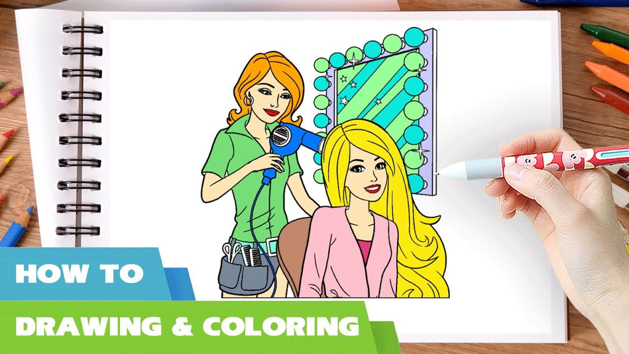 Hairdresser Coloring Pages L How To Draw With Barbie Book Hair Salon