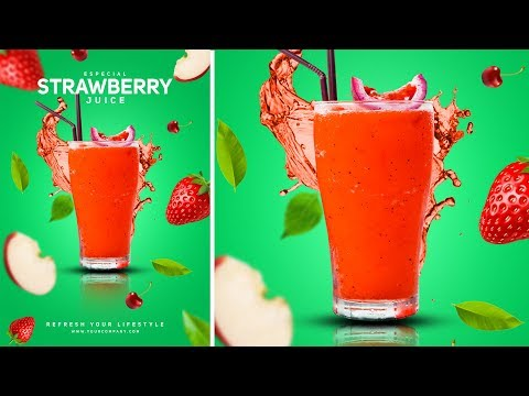 Strawberry Juice Advertising Poster Design - Photoshop Tutorial thumbnail
