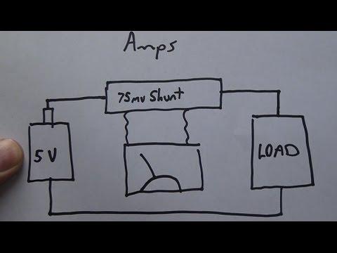wiring dc ammeter load meter / volt meter