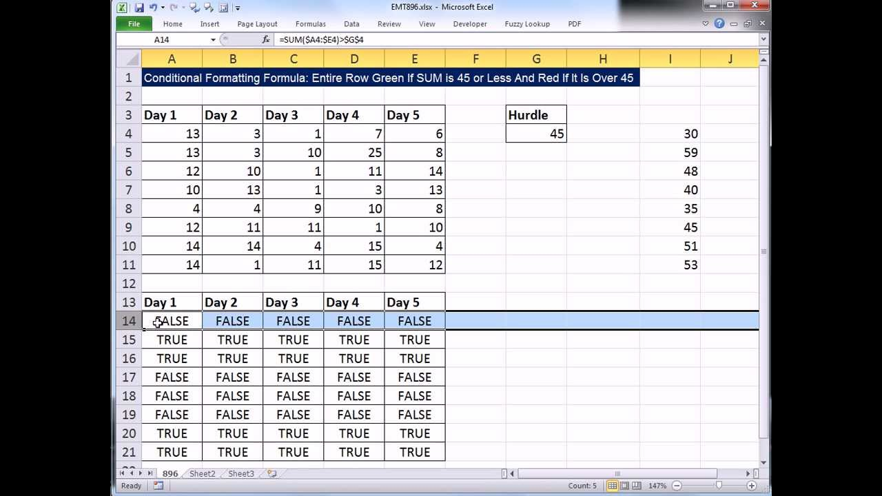 how to make a color equal a value in excel