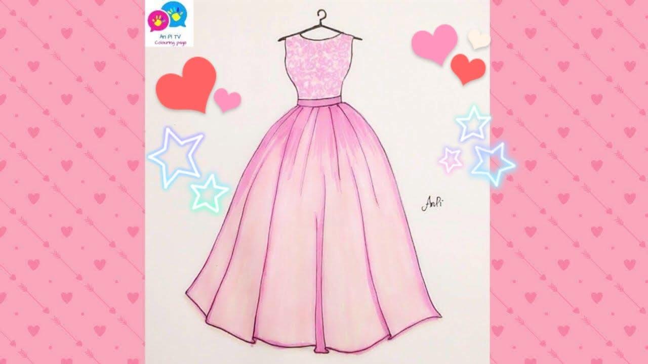 Draw Wedding Dress 5 for girl – Vẽ Váy Cưới 5 – An Pi TV Coloring