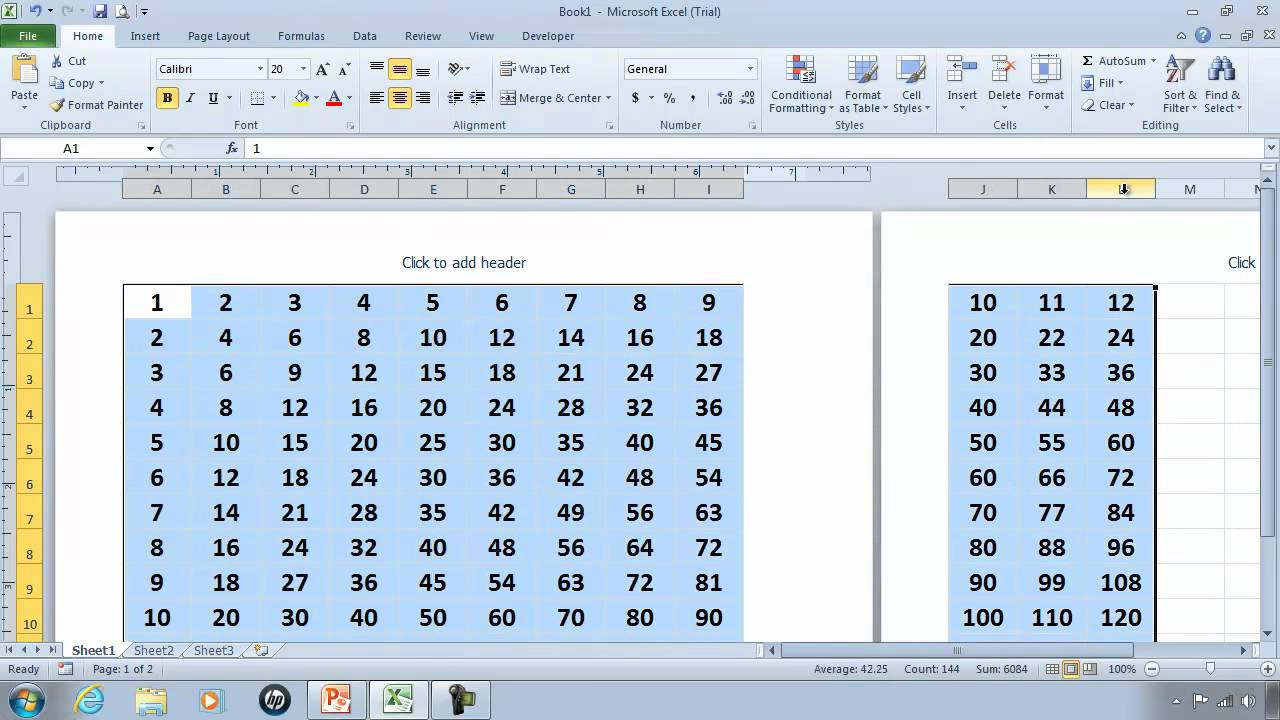Worksheets 45 Times Table Chart excel 2010 tutorial 3 times table autofill example youtube