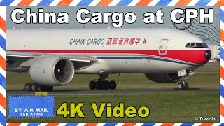 China Cargo Boeing 777 takeoff at Copenhagen bound for Pudong - B-2077 - Flyvergrillen - 4K