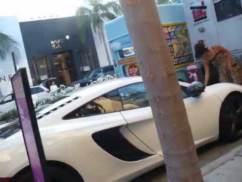 Ice cream truck Lady backs into McLaren on Rodeo Drive Beverly Hills