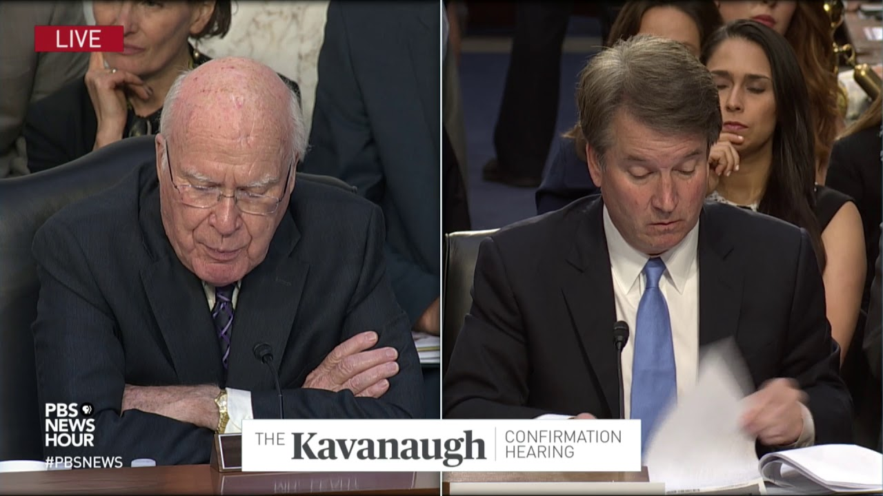 Image result for photos of Sen leahy Brett Kavanaugh