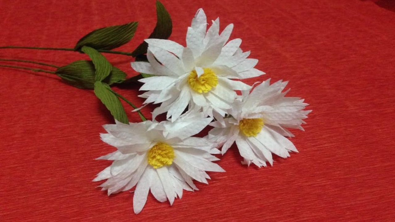 How to Make Daisy Tissue Paper Flowers - Flower Making of Tissue ...
