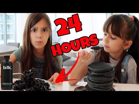 We only ate BLACK food for 24 HOURS challenge!!!