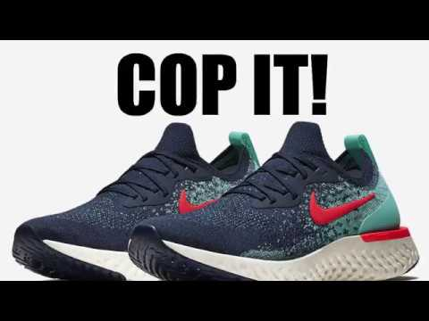 9a45ade6140a Nike Epic React Flyknit College Navy Hyper Jade Sail Red Orbit - YouTube