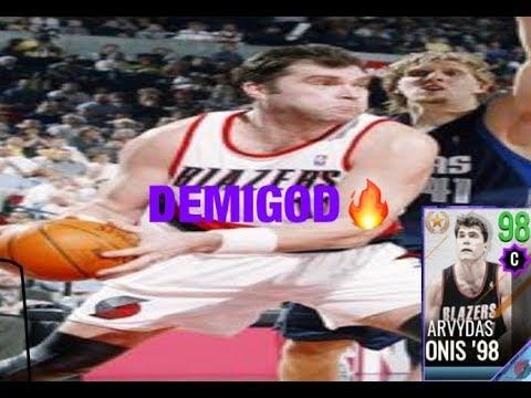 ABSOLUTE DEMIGOD!! 98 OVR ARVYDAS SABONIS GAMEPLAY!!(nba live mobile 18)
