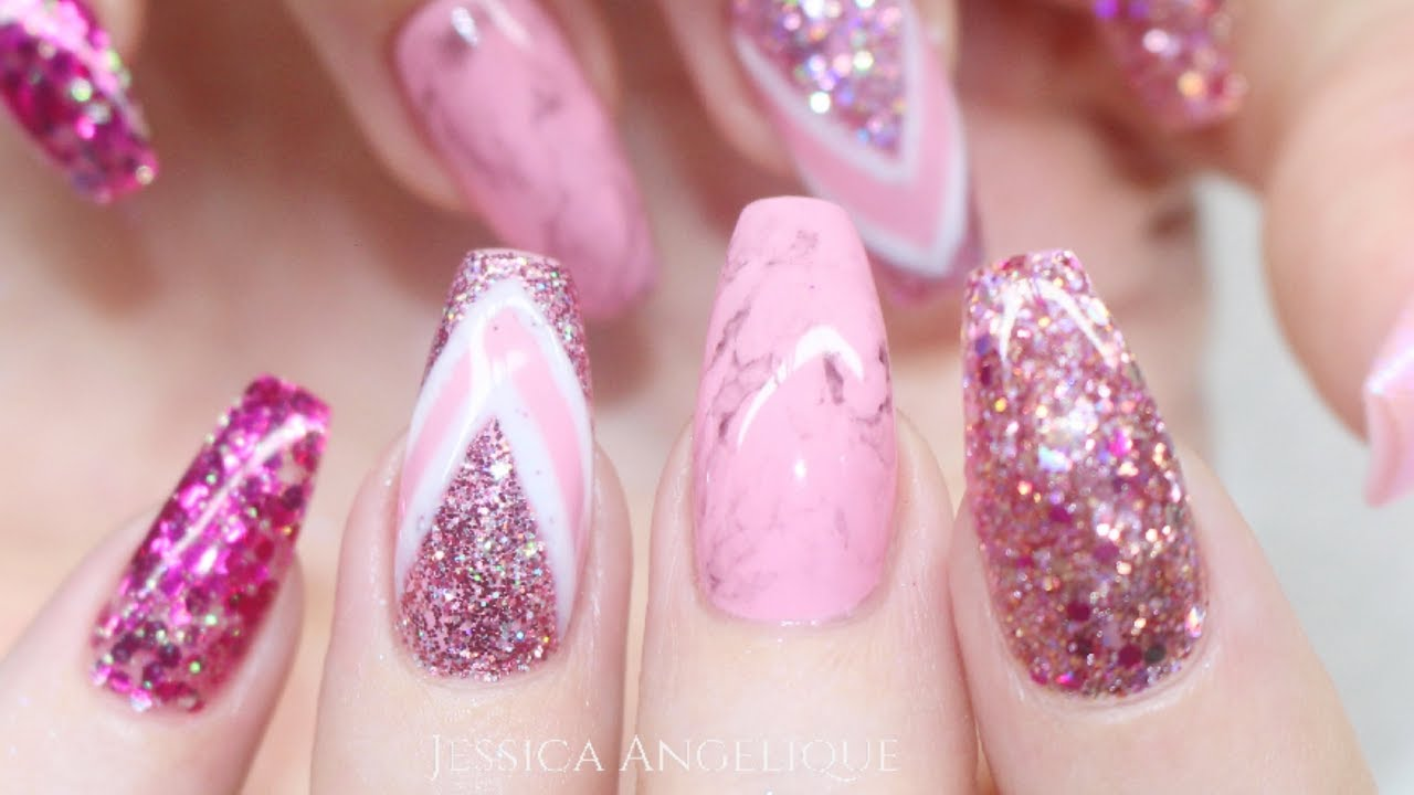 ♡ How to: Pink Glitter & Marble Gelnails - YouTube