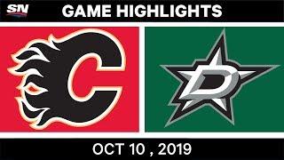 Nhl Highlights | Flames Vs. Stars   Oct. 10, 2019