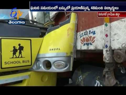 Lorry Hits School Bus | In Warangal Rural District