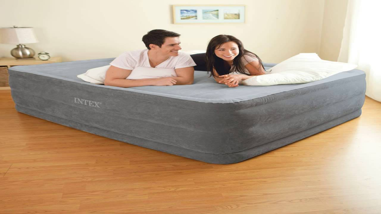 intex comfort plush elevated dura beam airbed bed height 22 queen youtube