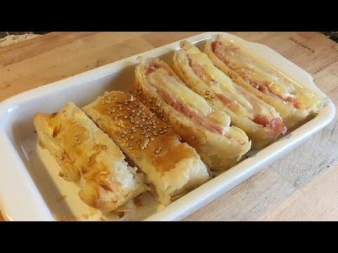 roules-feuilletés-au-jambon-et-fromage||-recettes-avec-la-pâte-feuilletée
