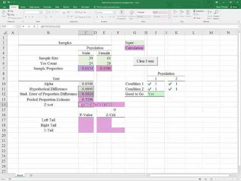 Excel 2016 Template for the Test of Two Unrelated Proportions