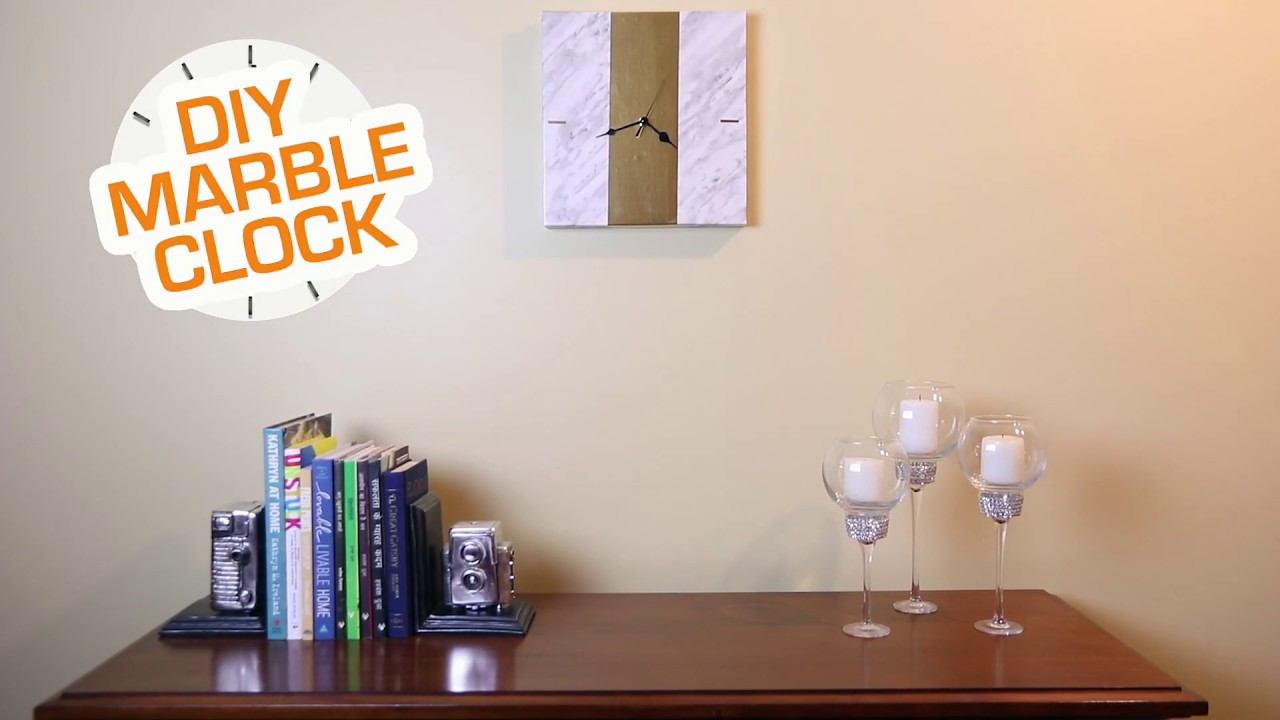Diy Marble Clock Marble Contact Paper Craft Ideas Makeover With