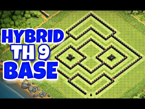 Best Th9 Hybrid Base Layout With Replays | Trophy/Farming Base | Clash Of  Clans