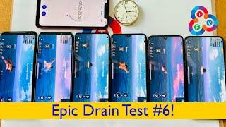 Asus ROG Phone 2 vs Black Shark 2 Pro vs Mi 9T vs CC9 vs Mi A3 vs Oppo K3 - Epic Drain Test #6!