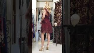 P 0787 Коктейльное платье с пышной юбкой из нежнейшего гипюра video