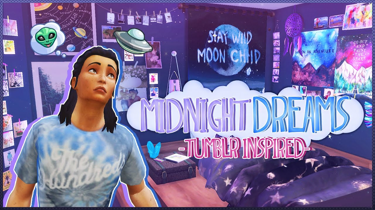 Sims 4:Midnight Dreams |Tumblr Inspired Bedroom | CC🌌