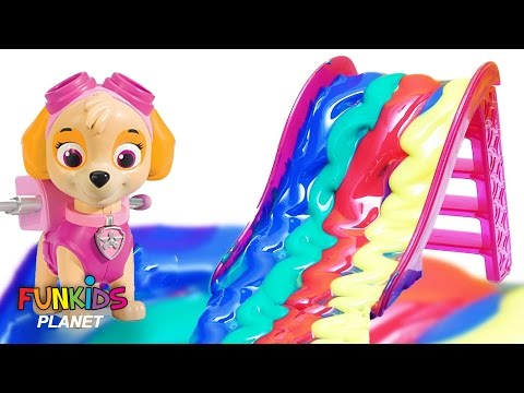 Thumbnail: Learning Colors Video for Children - Paw Patrol Bath Paint Slide into Paint Pool with Skye & Chase
