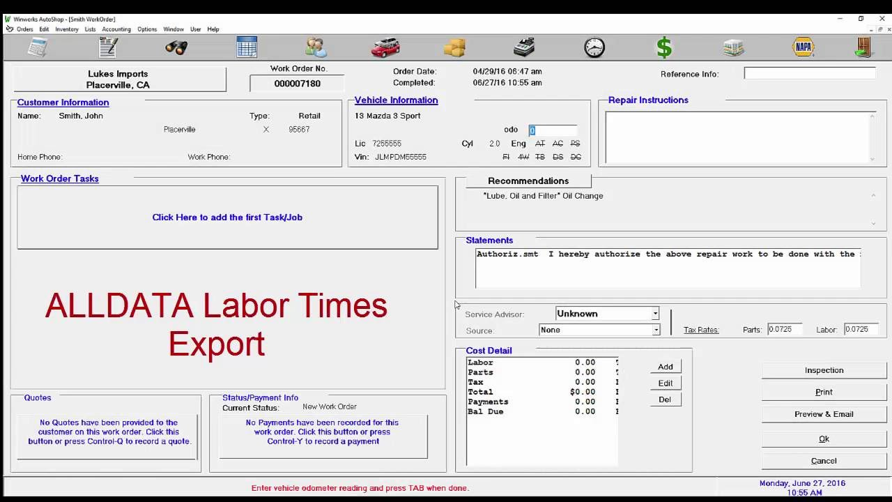 Winworks AutoShop- Add Labor Times from Time and Labor Guides - YouTube