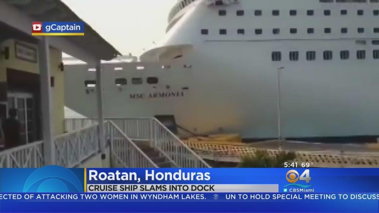 Cruise Ship Runs Aground In Honduras Youtube
