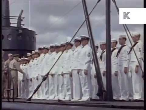 WWII, United States Navy Medal Presentation, Color Archive Footage