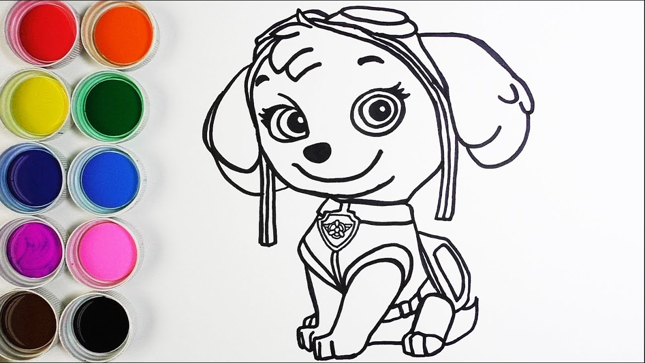 Cómo Dibujar Y Colorear Skye De Los Paw Patrol Learn Colors For Kids Funkeep