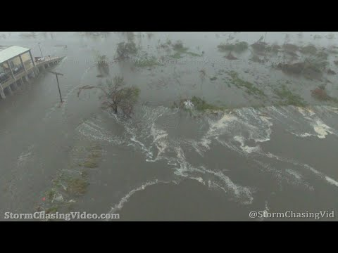 Hurricane Delta Drone In The Eye, Storm Surge And Violent Wind - 10/9/2020