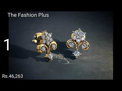 Gold Ear-Studs Designs With PRICE BY BLUE STONE